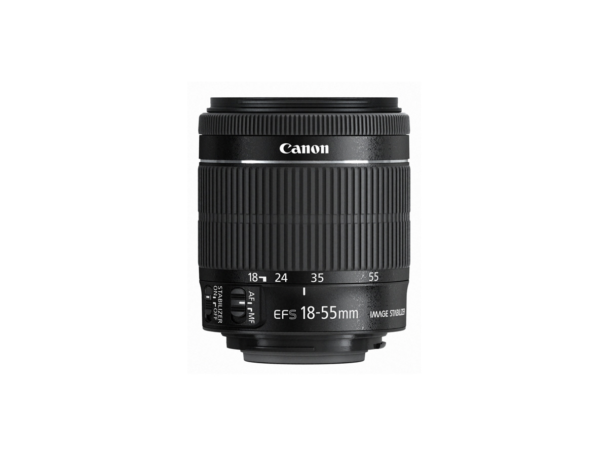 Side view of Canon EF-S 18-55mm f/3.5-5.6 IS STM lens