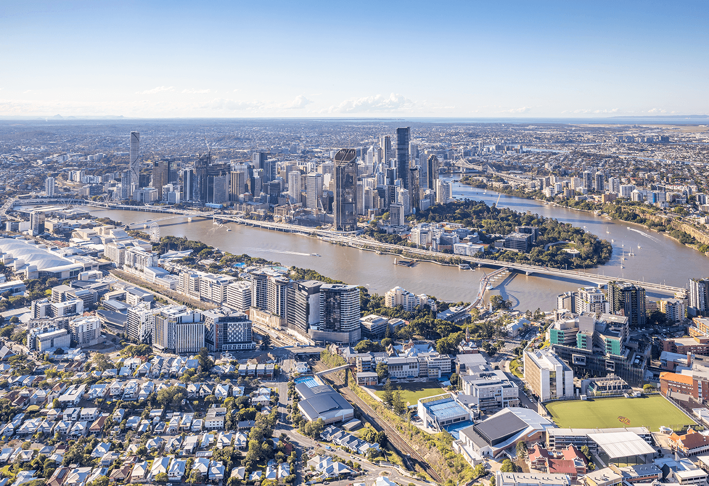 Aerial photo of Brisbane by Greg Sullavan