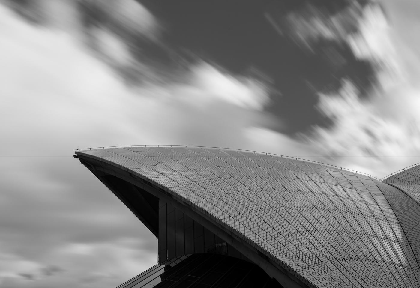Black and white image of Sydney Opera House