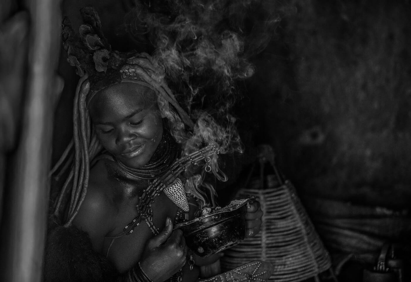 Tribal woman with incense black and white