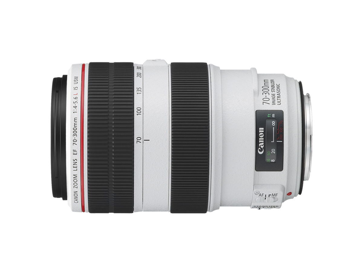 Side view of Canon EF 70-300mm f/4-5.6L IS USM lens