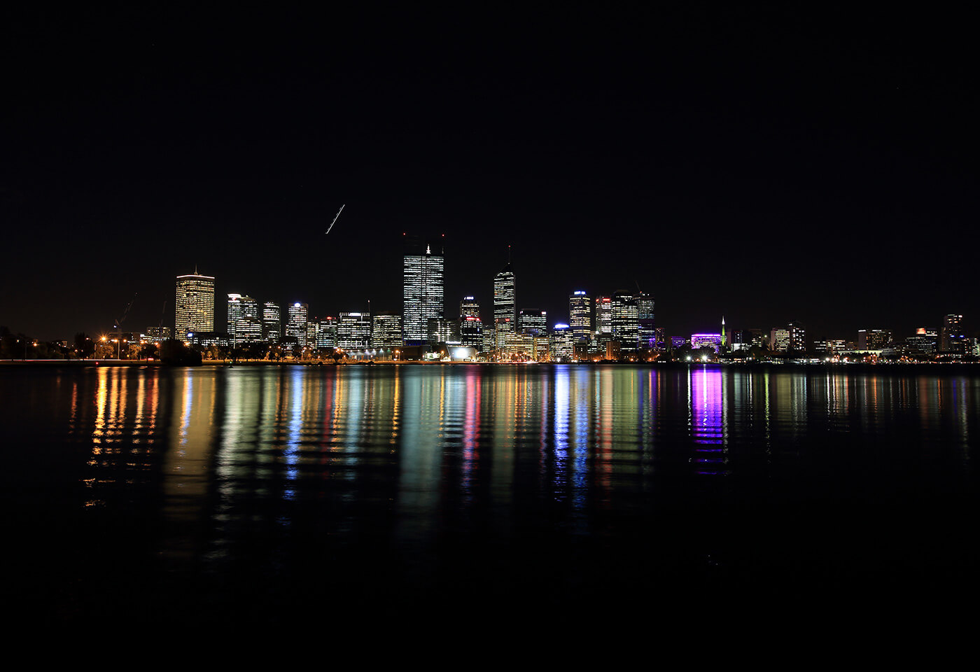 Panoramic landscape photograph of the Perth skyline at night