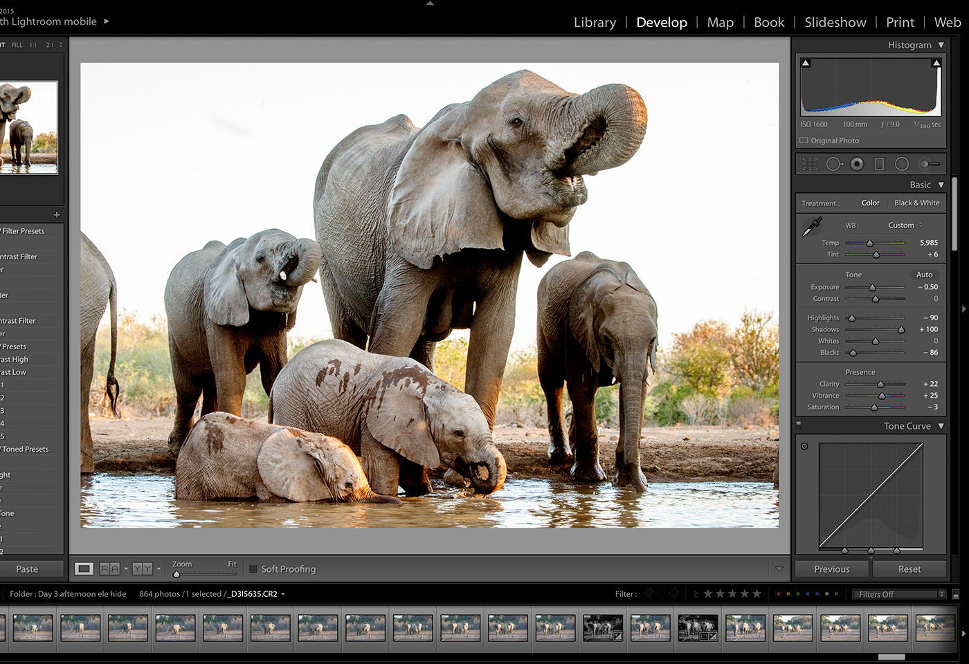Editing using Adobe Lightroom