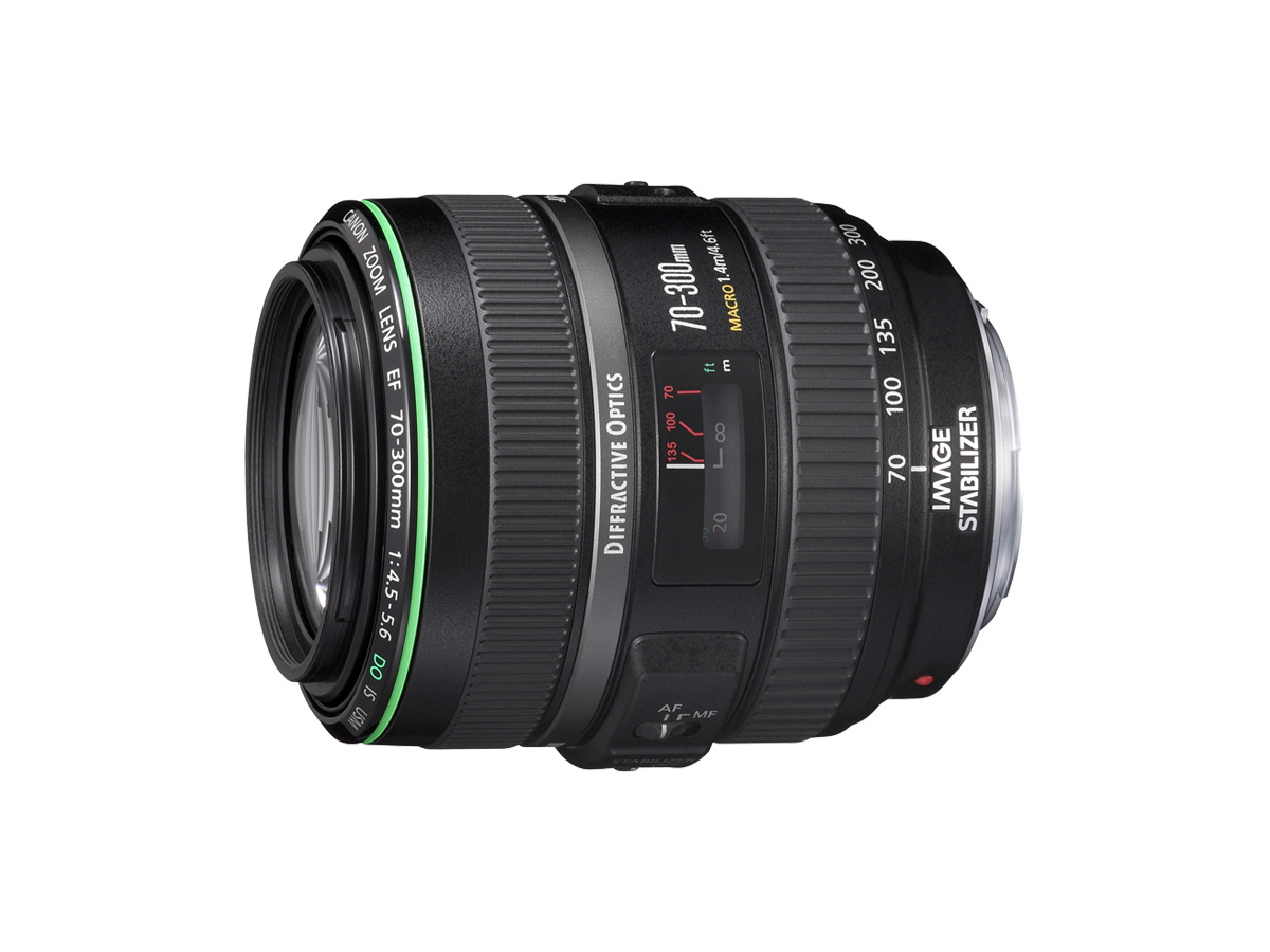 Side view of Canon EF 70-300mm f/4.5-5.6 DO IS USM lens