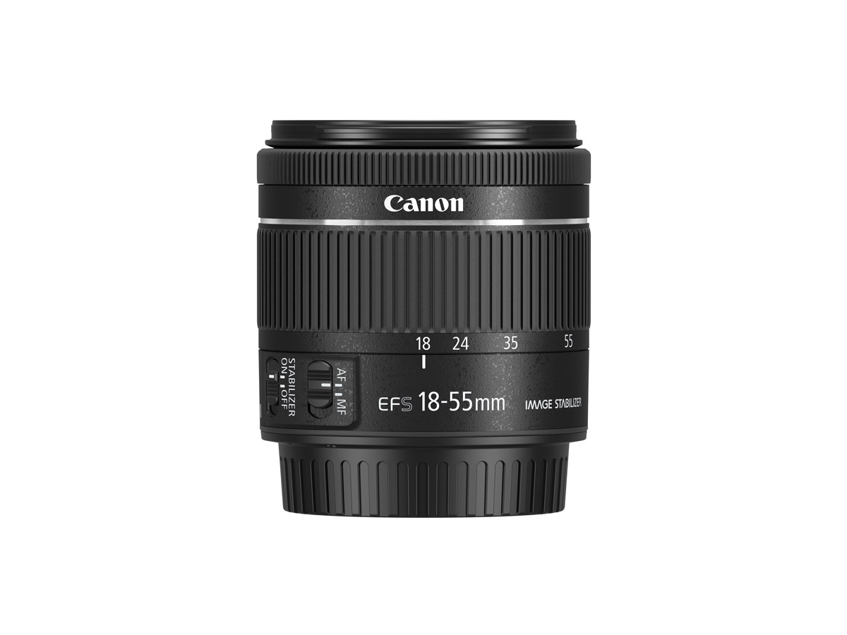 Side view of Canon EF-S 18-55mm f/4-5.6 IS STM lens