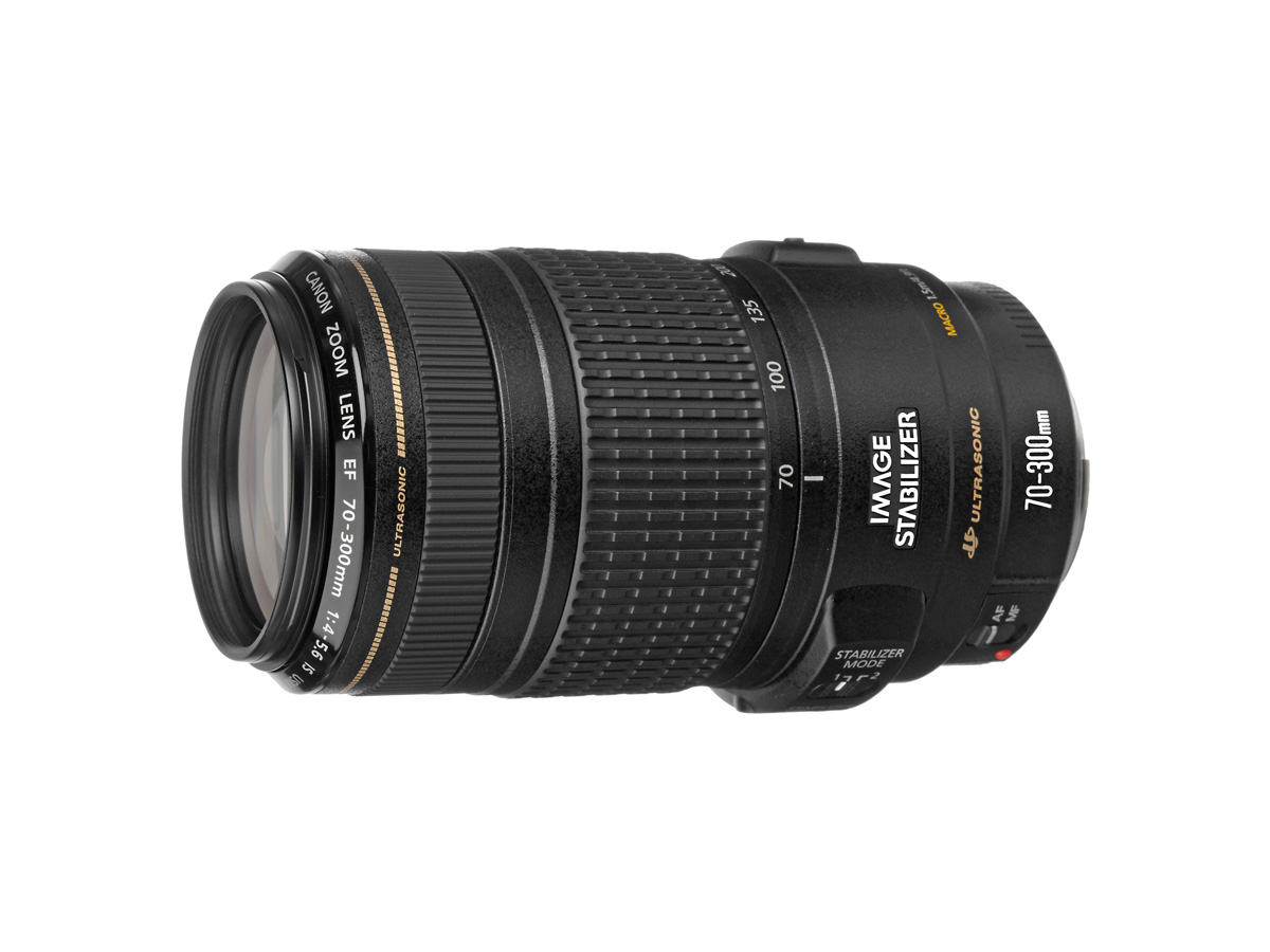 Side view of Canon EF 70-300mm f/4-5.6 IS USM lens