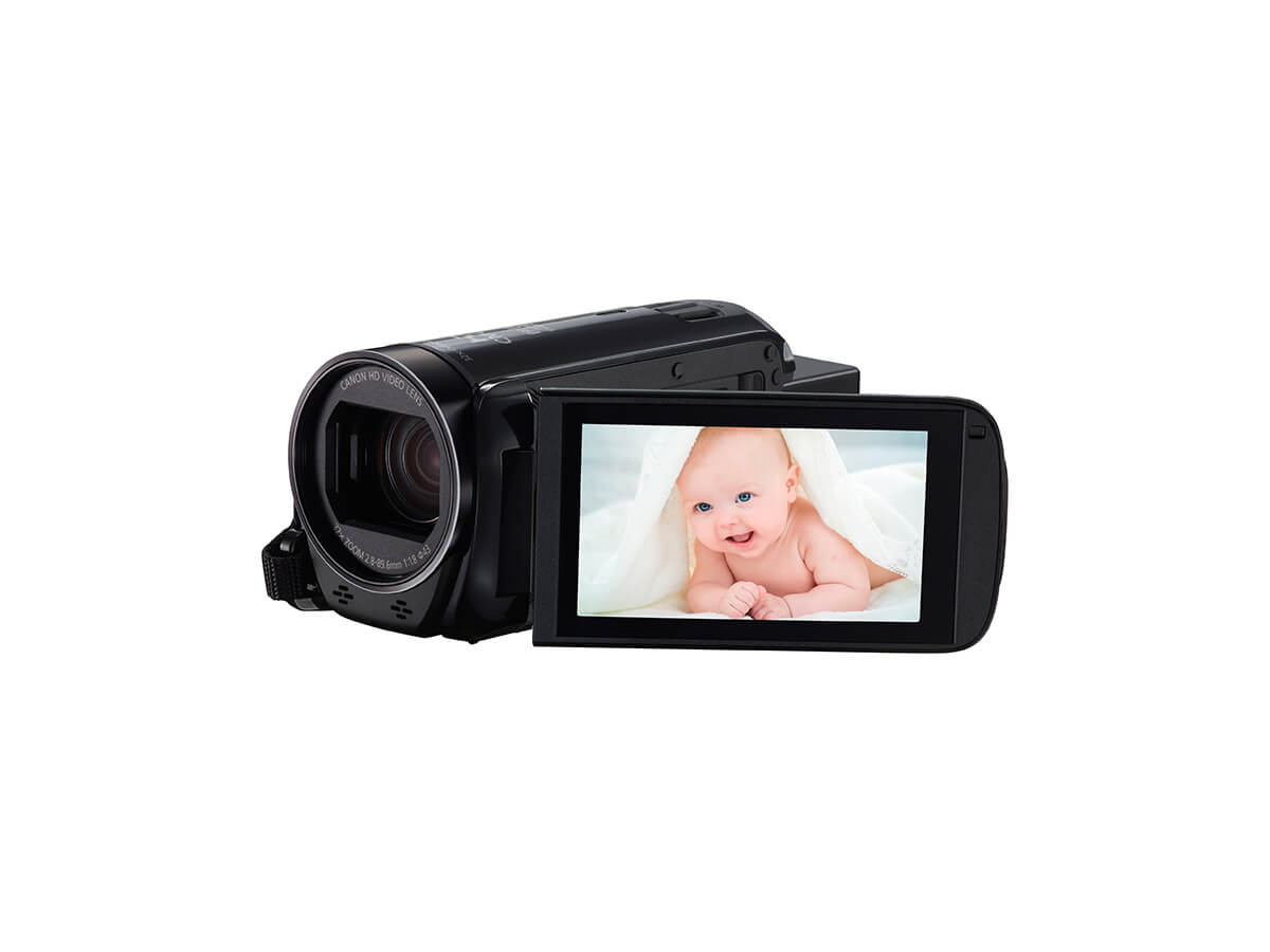 Canon LEGRIA HF R706 digital video camera black back angled