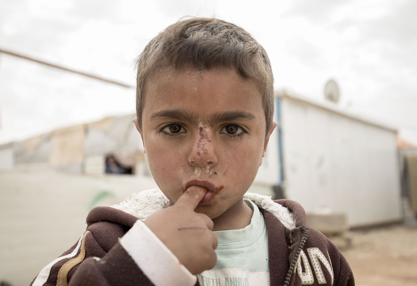 Portrait image of refugee kid
