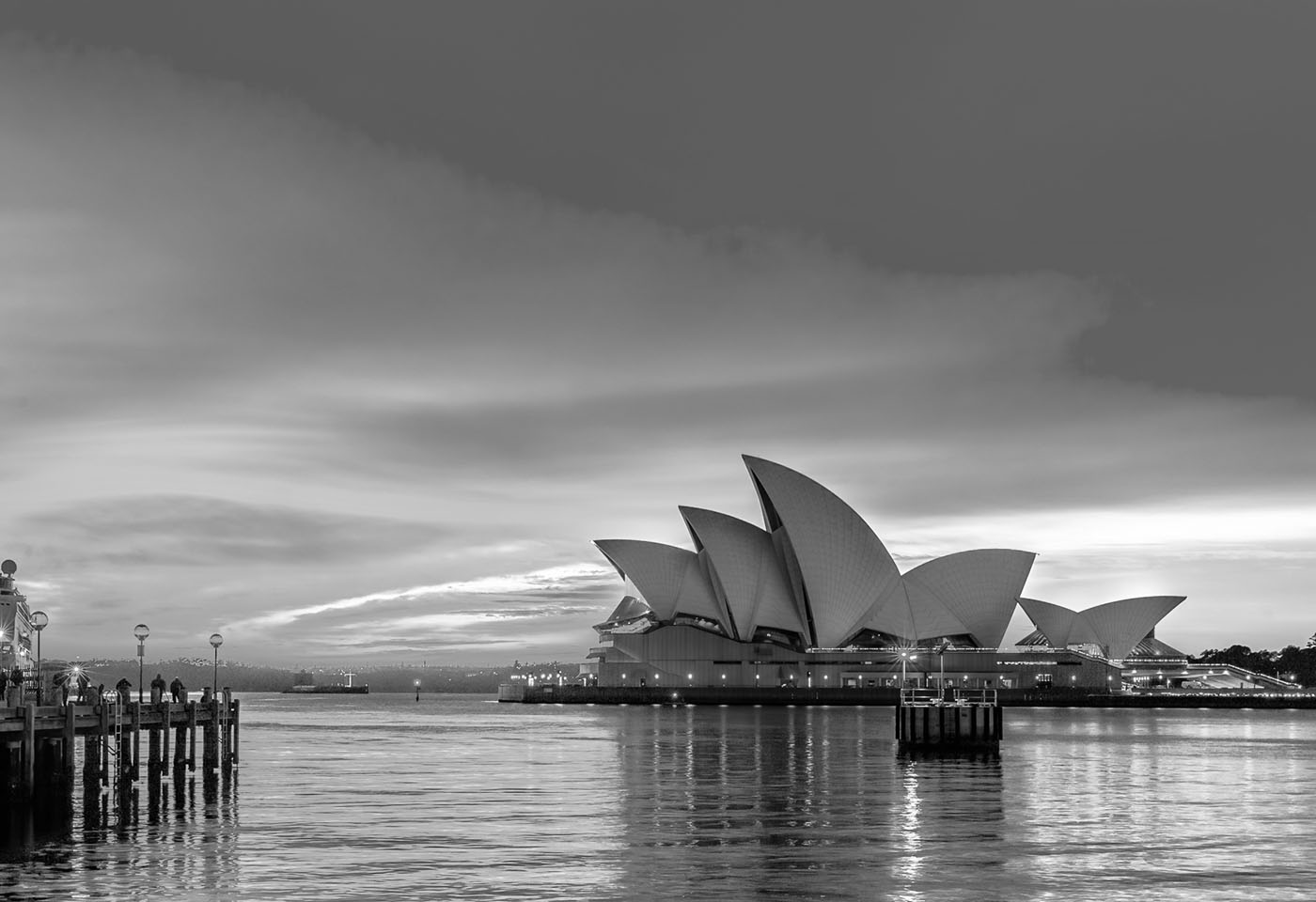 Black and white image of long exposures Sydney
