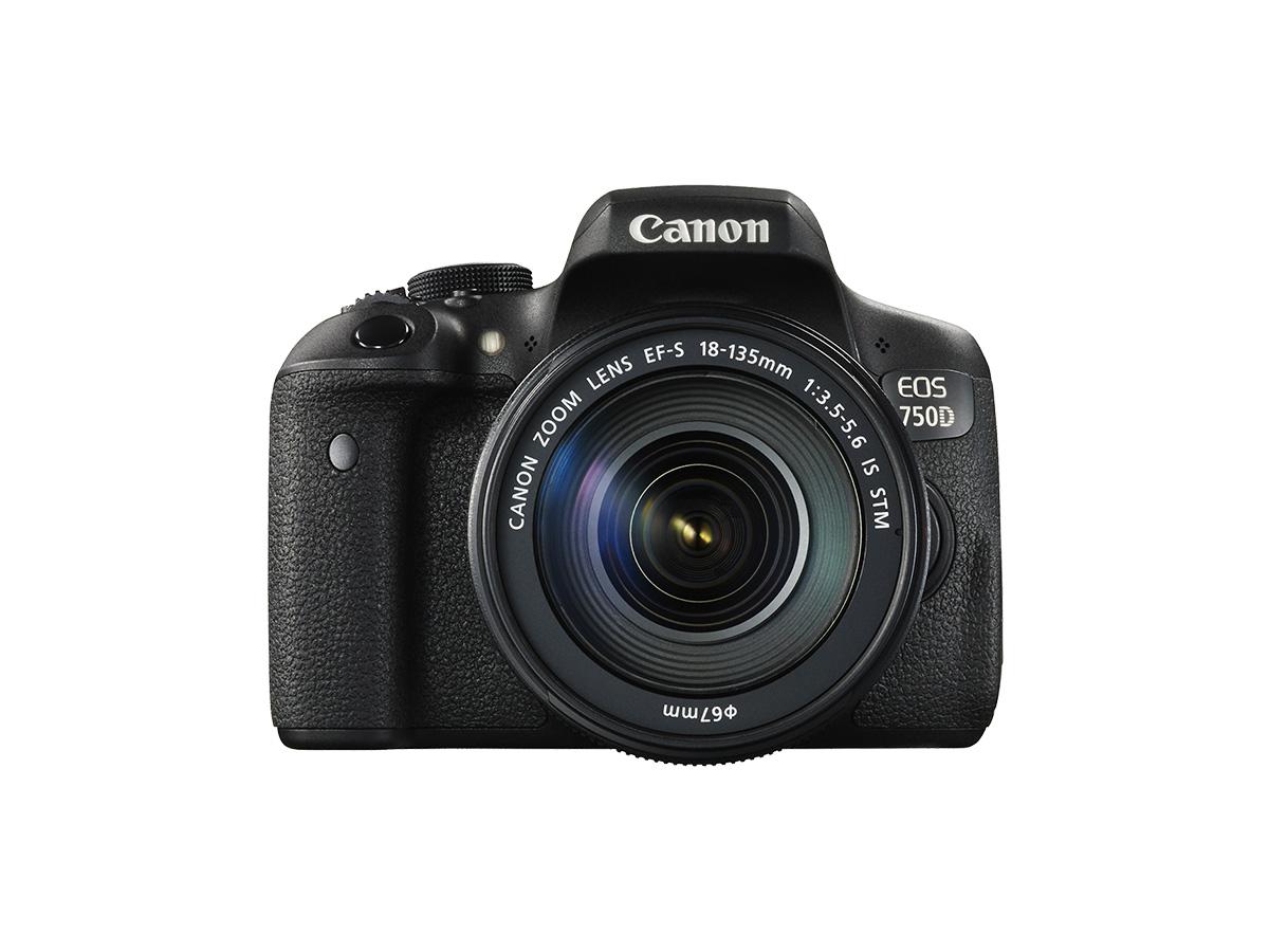 EOS 750D DSLR camera with 18-135mm lens front shot