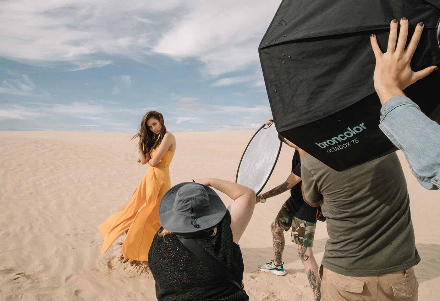 Portrait image of model in desert