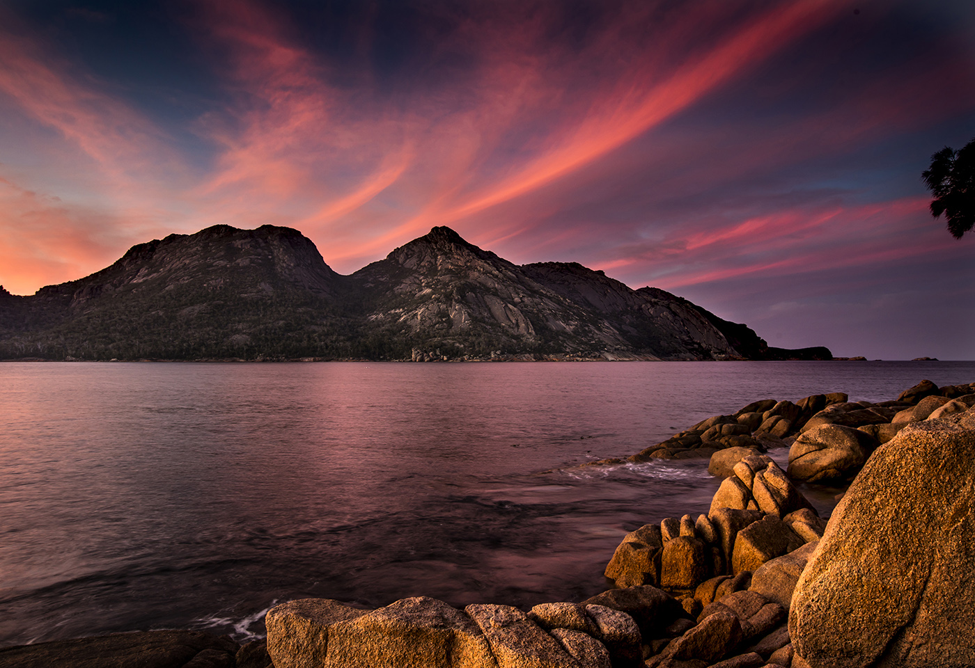 Pink and purple sunset at Wineglass Bay by Neal Walters