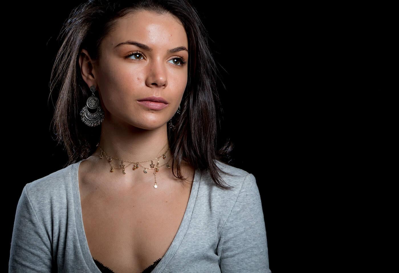Professional portrait of model on black backdrop