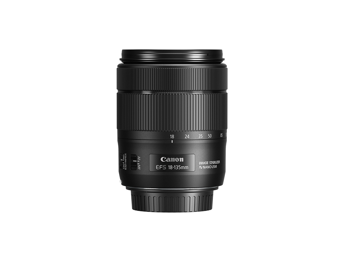Side view of Canon EF-S 18-135mm f3.5-5.6 IS USM lens