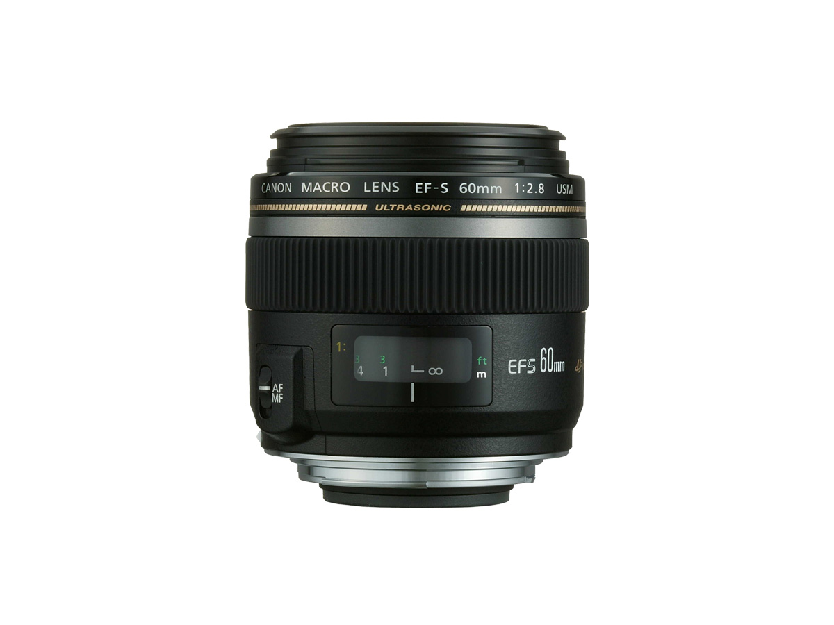 Side view of Canon EF-S 60mm f/2.8 Macro USM lens