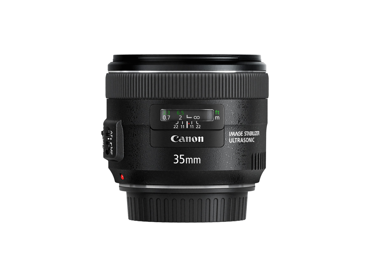 Side view of Canon EF 35mm f/2 IS USM lens