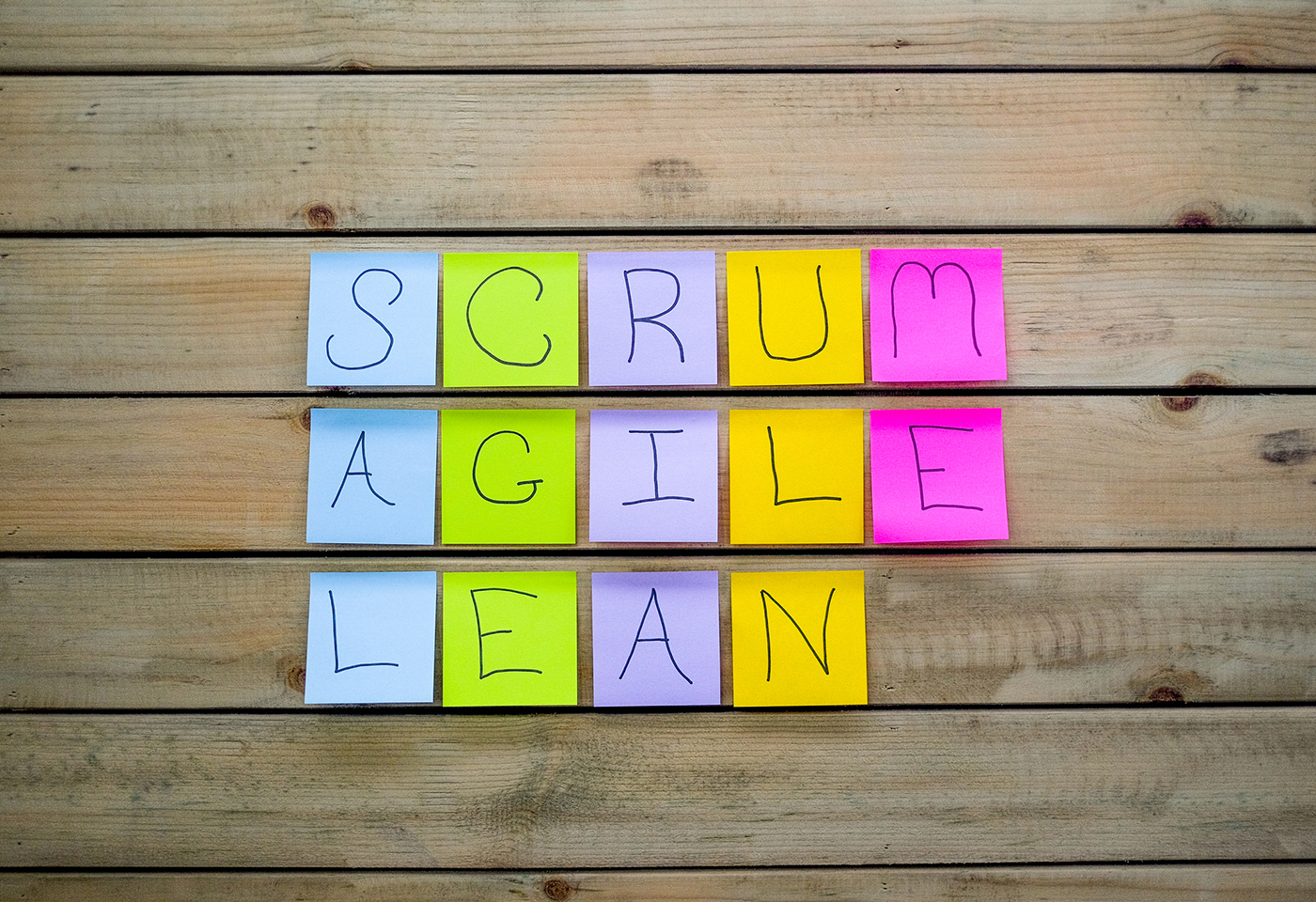 Scrum Agile and LEan written on colourful post it notes