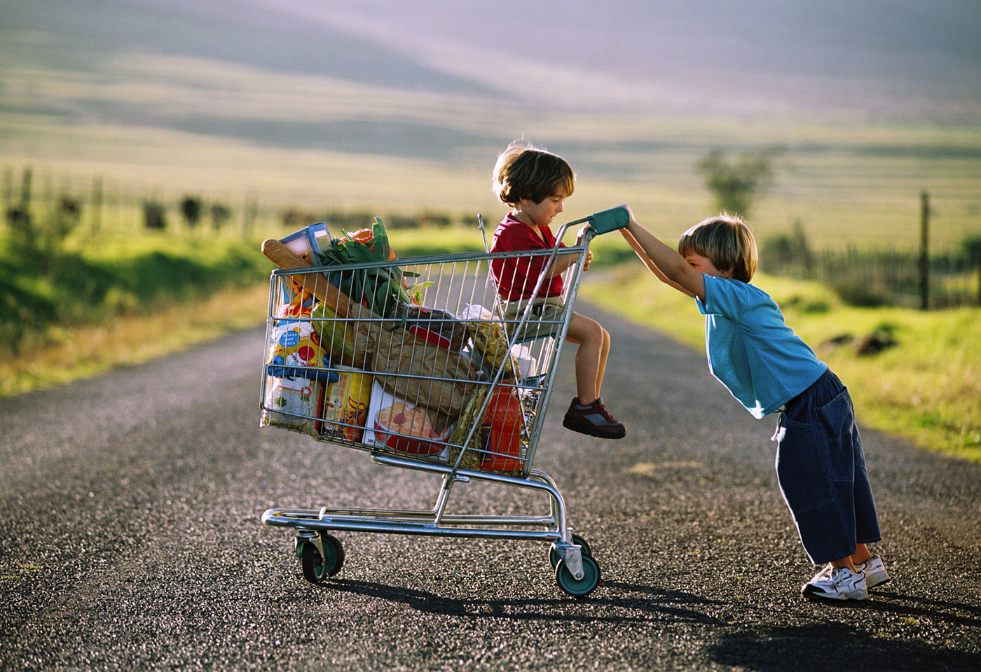 Two kids pushing a shopping trolley