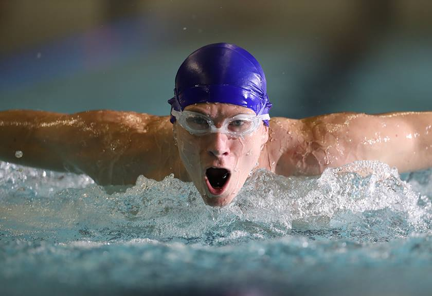 Photo of swimmer's face taken with EF 400mm f/2.8L IS III USM Lens