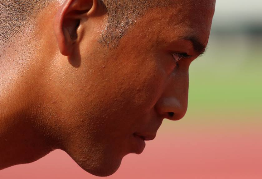 Close up photo of athlete's face taken with EF 400mm f/2.8L IS III USM Lens