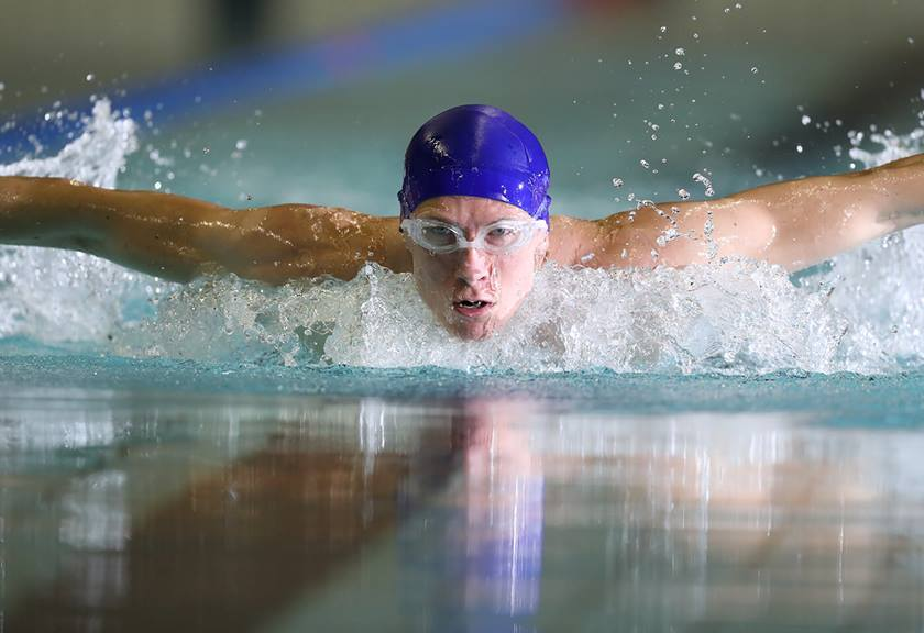 Photograph of swimmer's face taken with EF 600mm f/4L IS III USM Lens