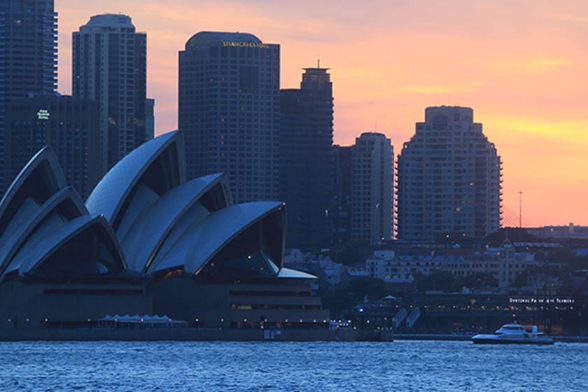 Sydney skyline at sunset taken with Canon EF-M 55-200 IS STM lens
