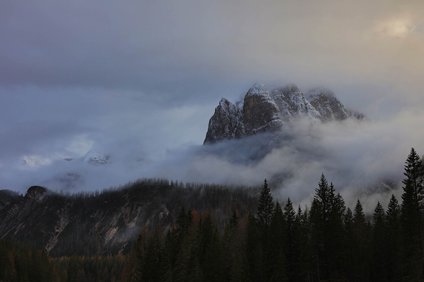 Mountain covered in mist taken with the Canon EOS 5DS digital SLR camera