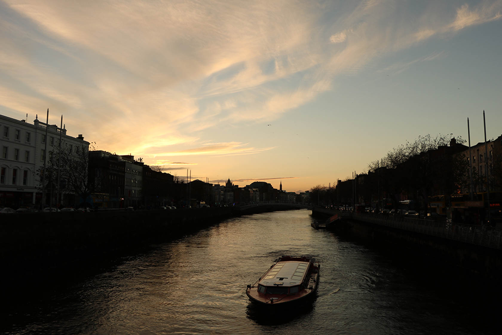 Boat on a river at sunset taken with the Canon EOS 760D digital SLR camera