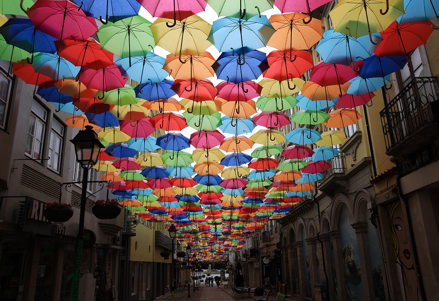 Photograph of umbrellas on street taken using RF 28-70mm f/2L USM