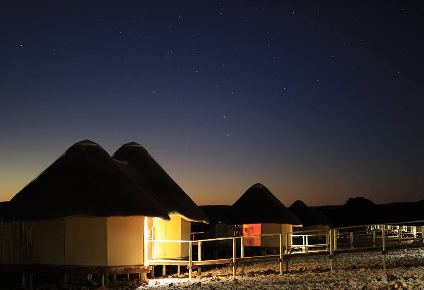 Photograph of cabins at night taken using RF 50mm f/1.2 L USM