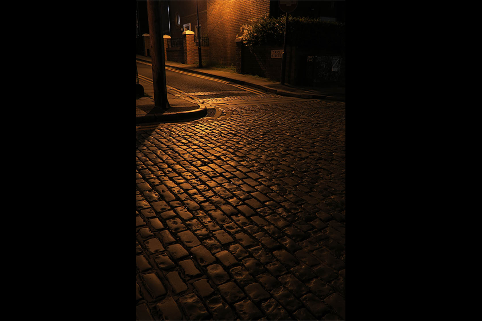 Bricked street at night shot on PowerShot G5 X Digital Compact Camera