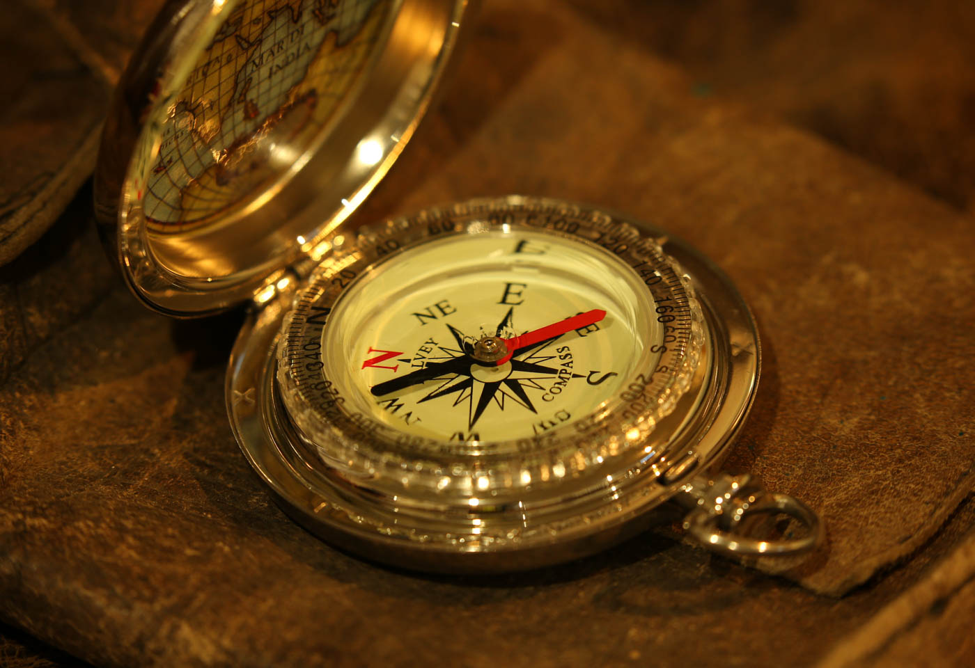 Gold compass on a table