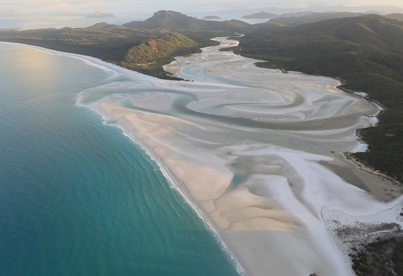 Aerial shot of beach lagoon
