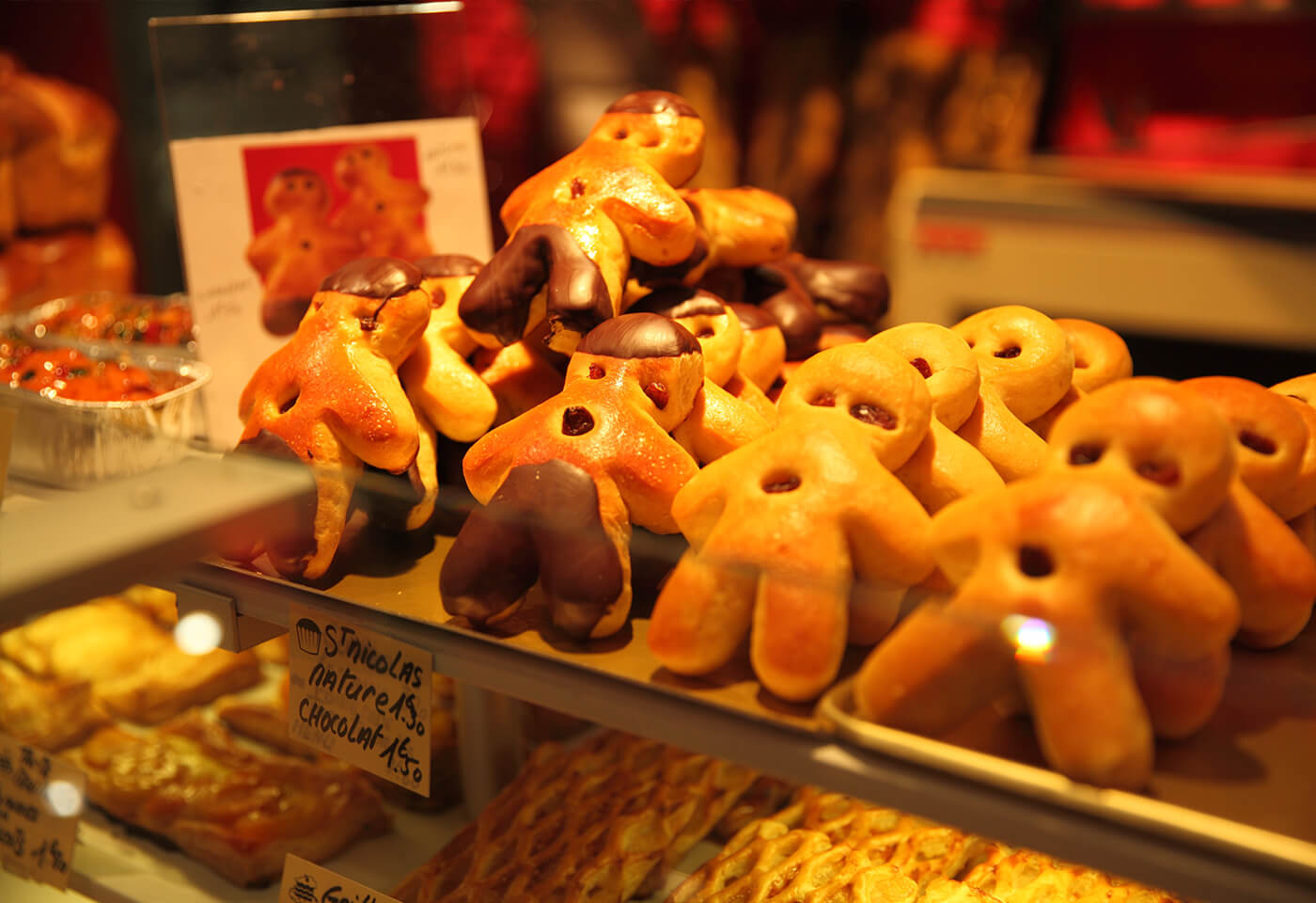 Gingerbread men in a bakery