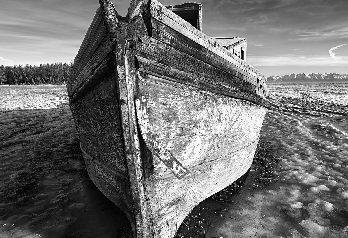 black and white shipwreck