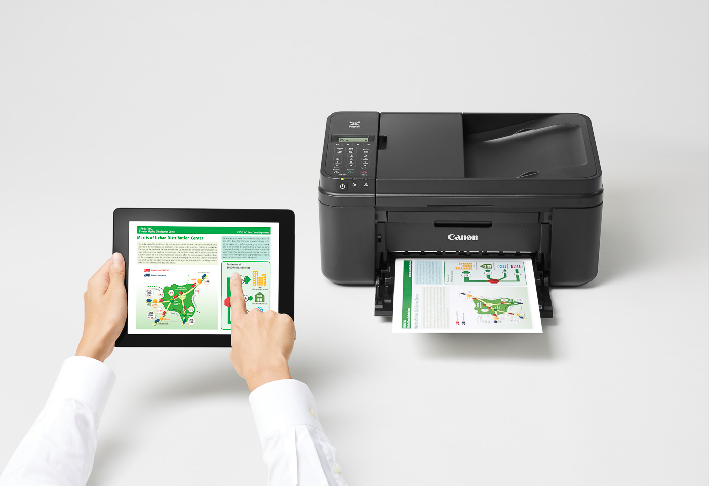 pixma mg496 printing from a tablet device
