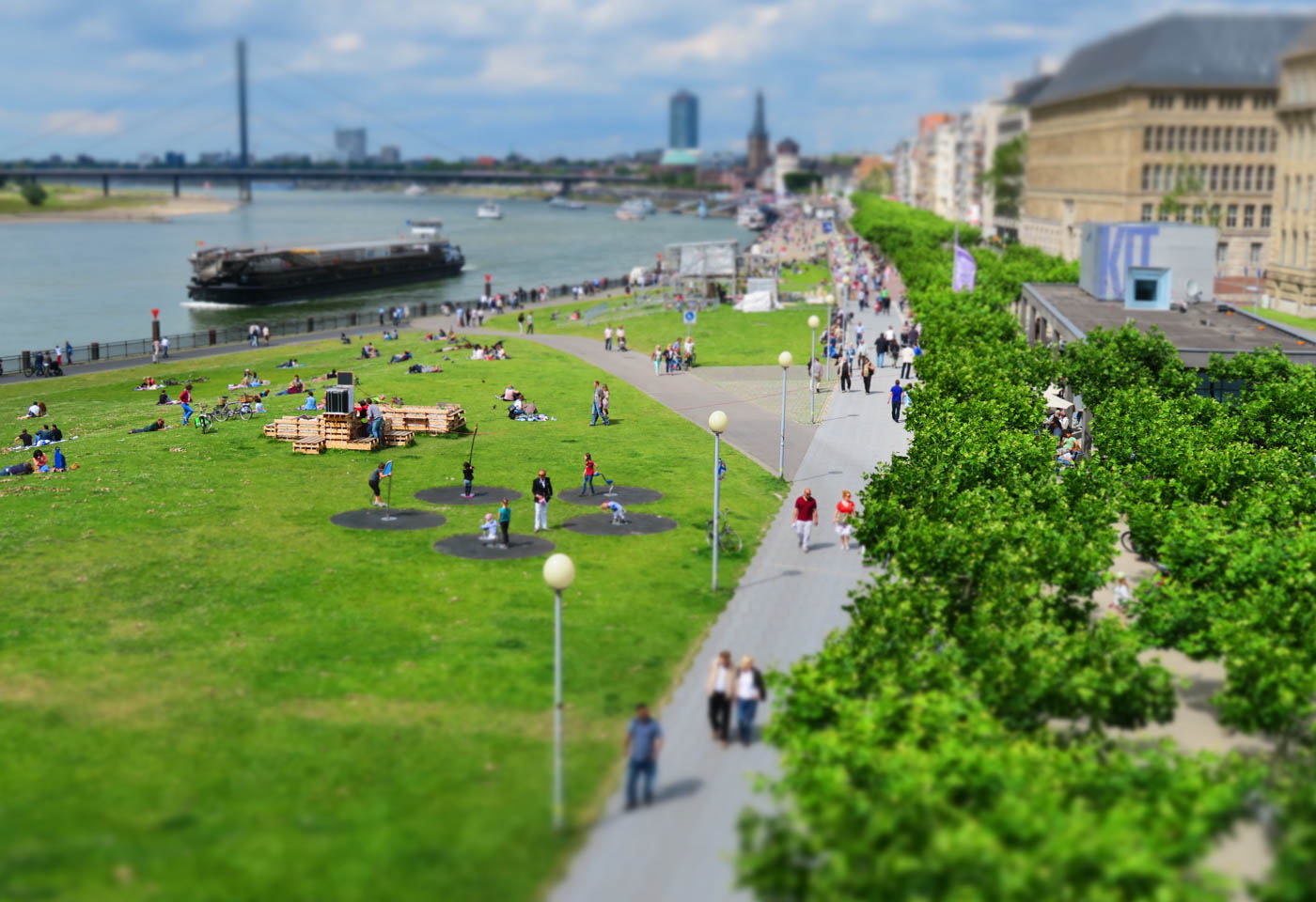 Park by the water taken with minature effect taken with Canon PowerShot SX720 HS compact camera