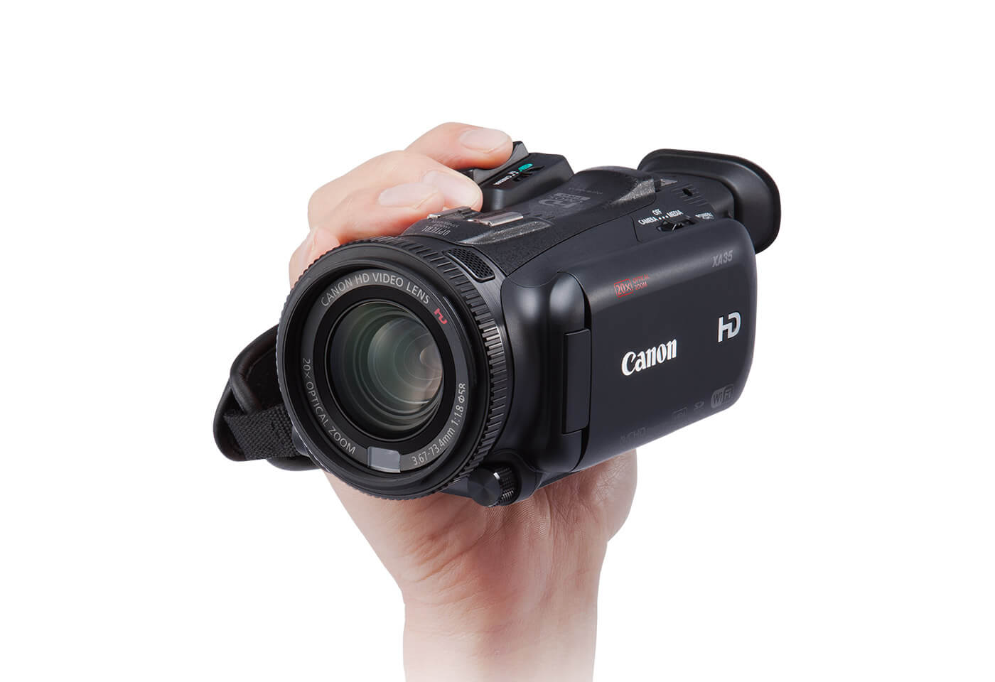 Canon XA30 digital camcorder with handle removed for more compact design