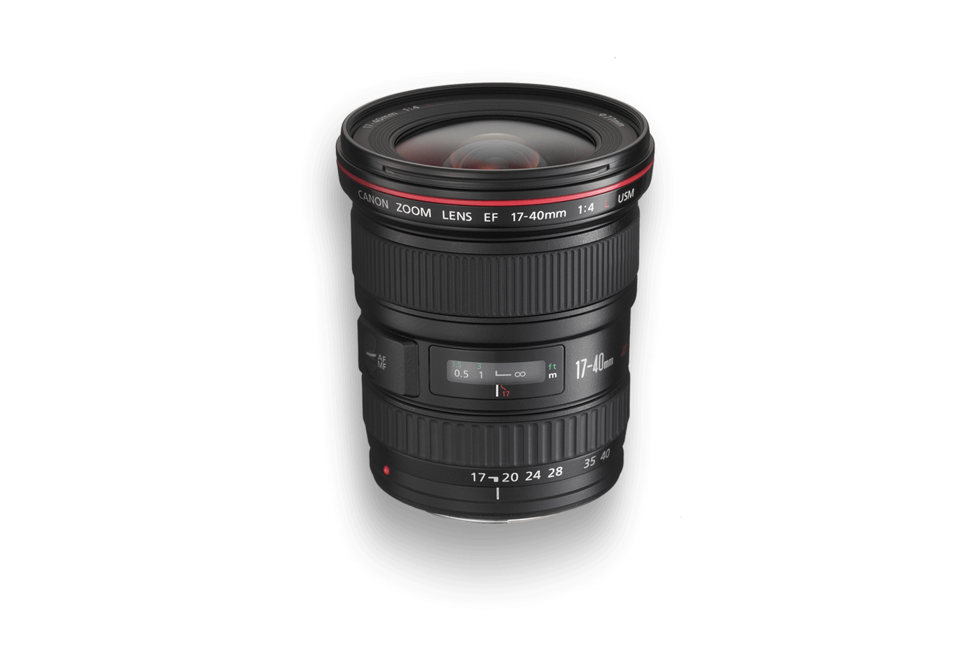 Side view of Canon EF 17-40mm f/4L USM lens