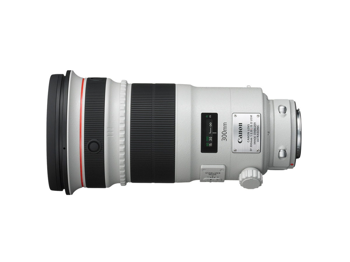 Side view of Canon EF 300mm f/2.8L IS II USM lens