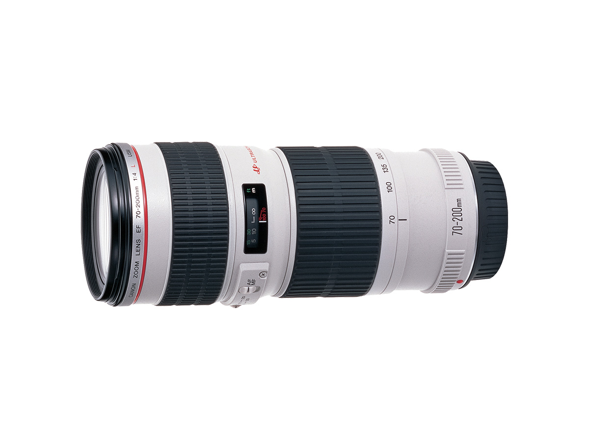Side view of Canon EF 70-200mm f/4L USM lens