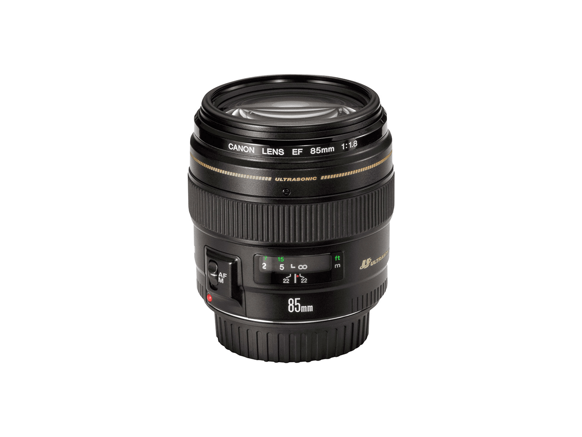Side view of Canon EF 85mm f/1.8 USM lens