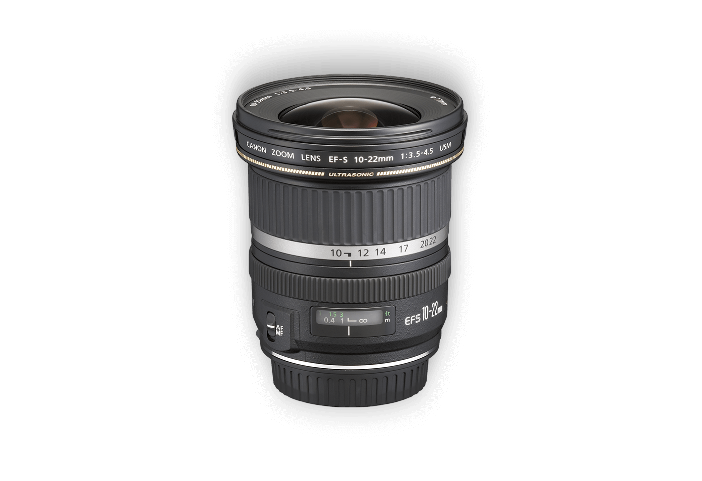 Side view of Canon EF-S 10-22mm f/3.5-4.5 USM lens