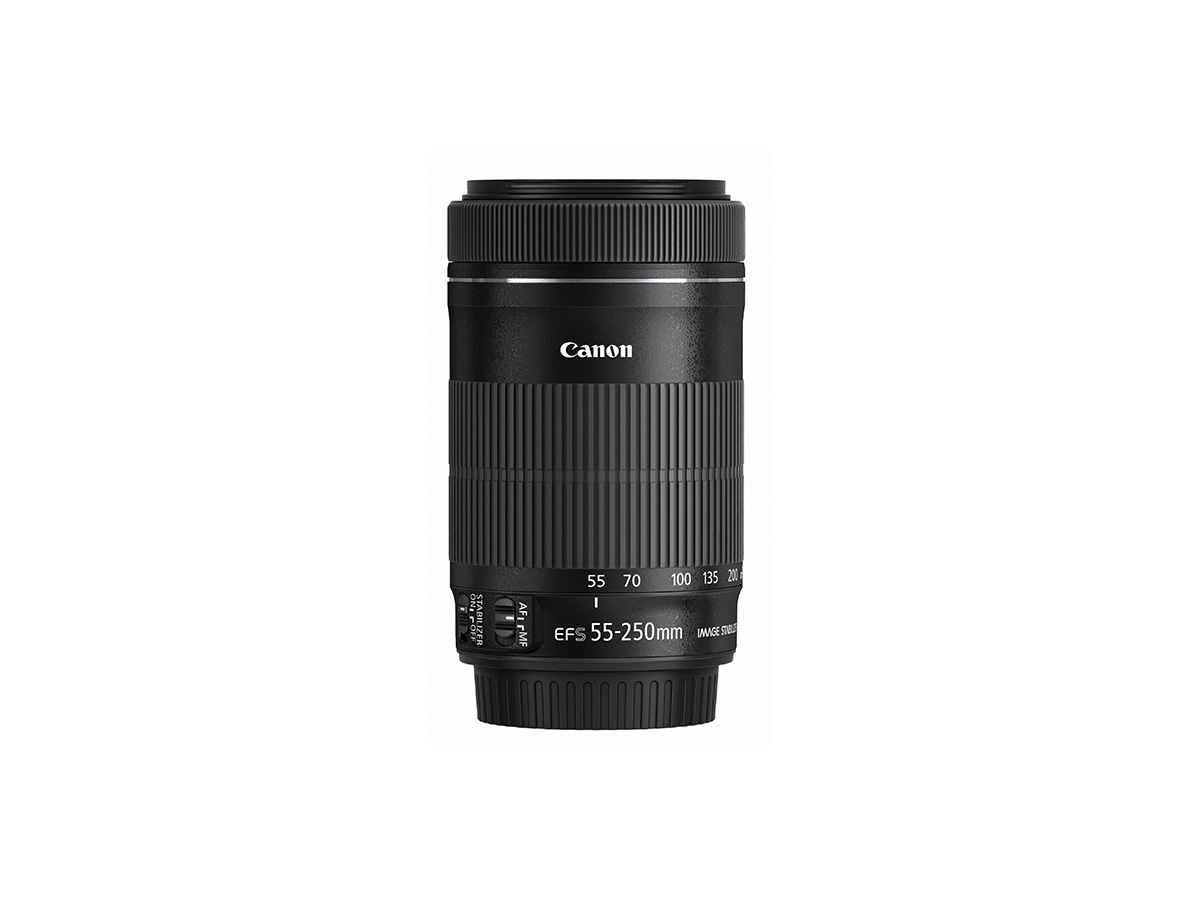 Side view of Canon EF-S 55-250mm f/4-5.6 IS STM lens