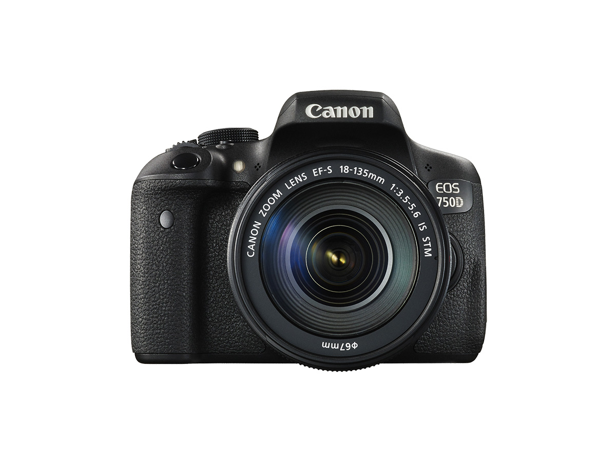 EOS 750D DSLR camera with 18-135mm lens front shot