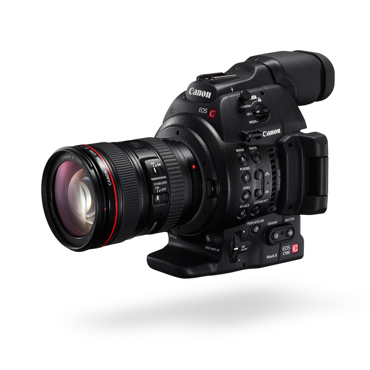 C100 Mark II black front angled with lens