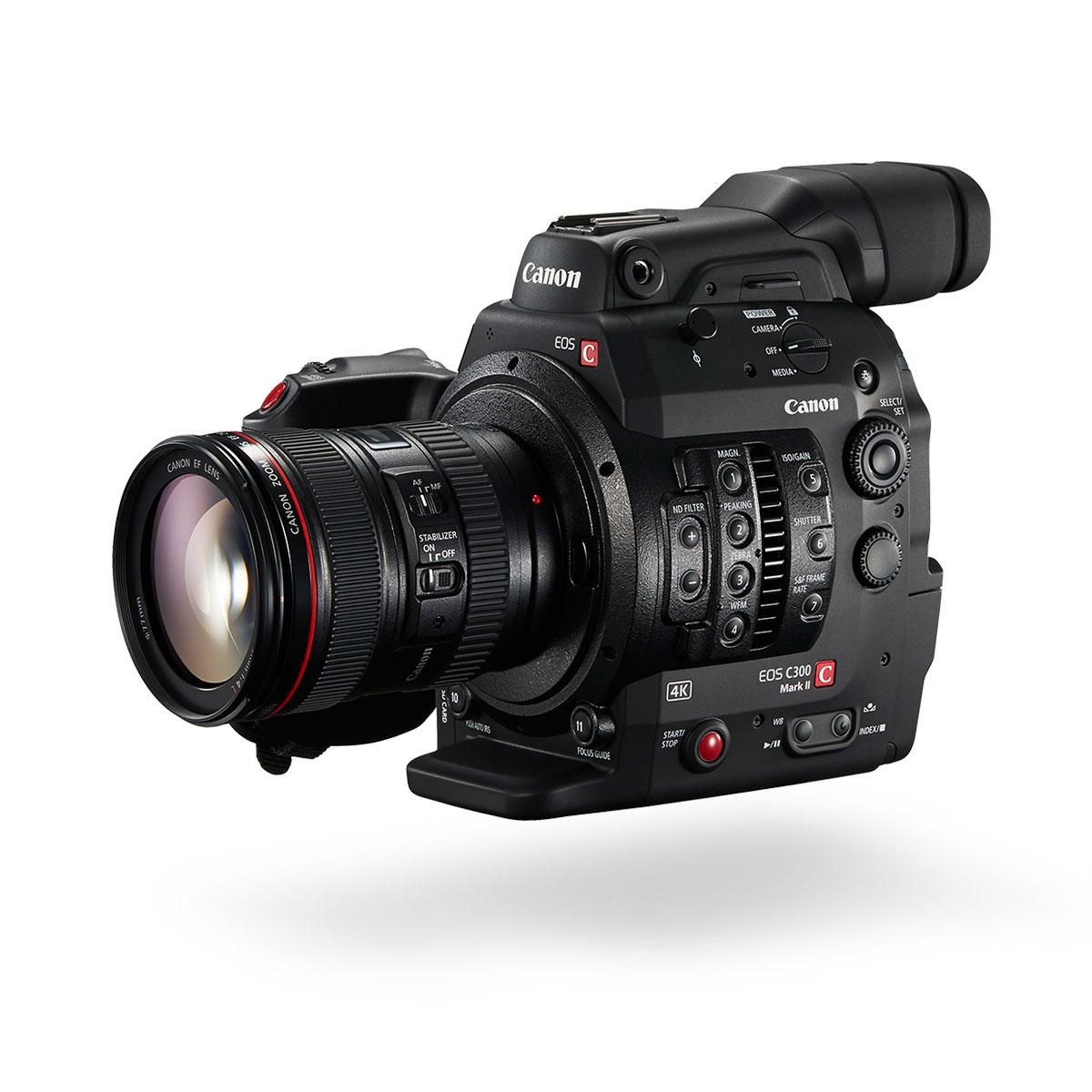 Canon C300 Mark II Black front closed angled