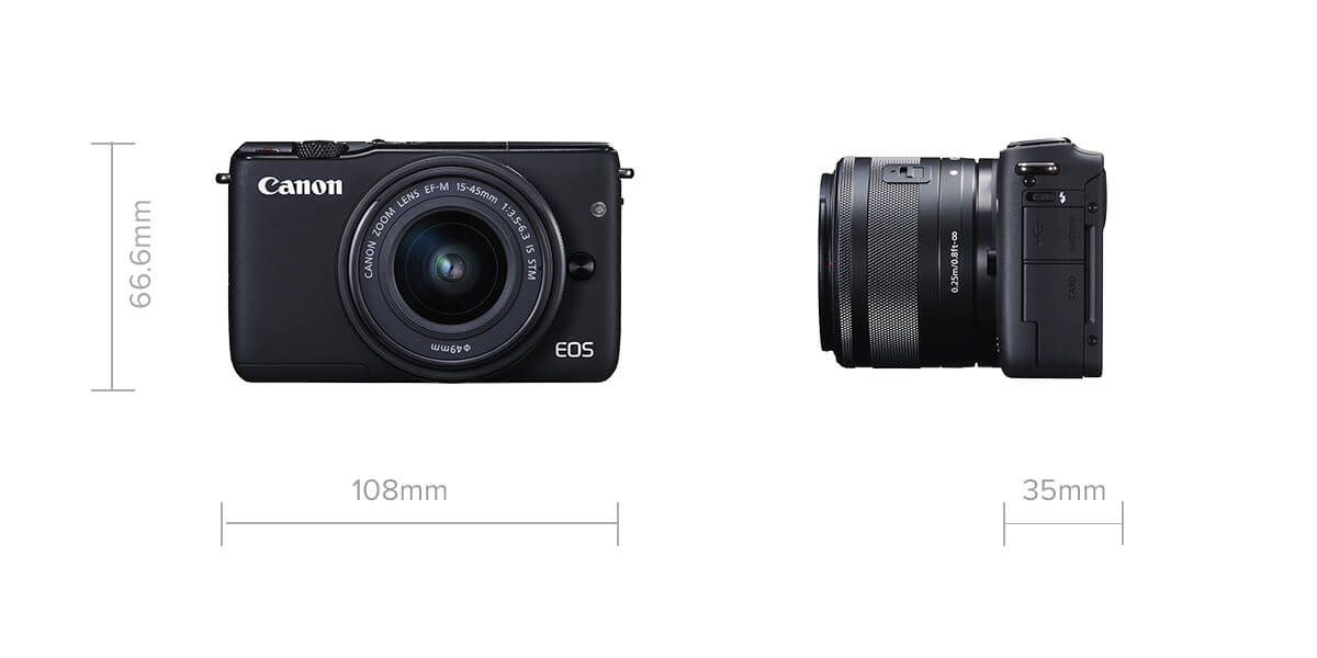 Canon EOS M10 compact mirrorless camera specification image with size