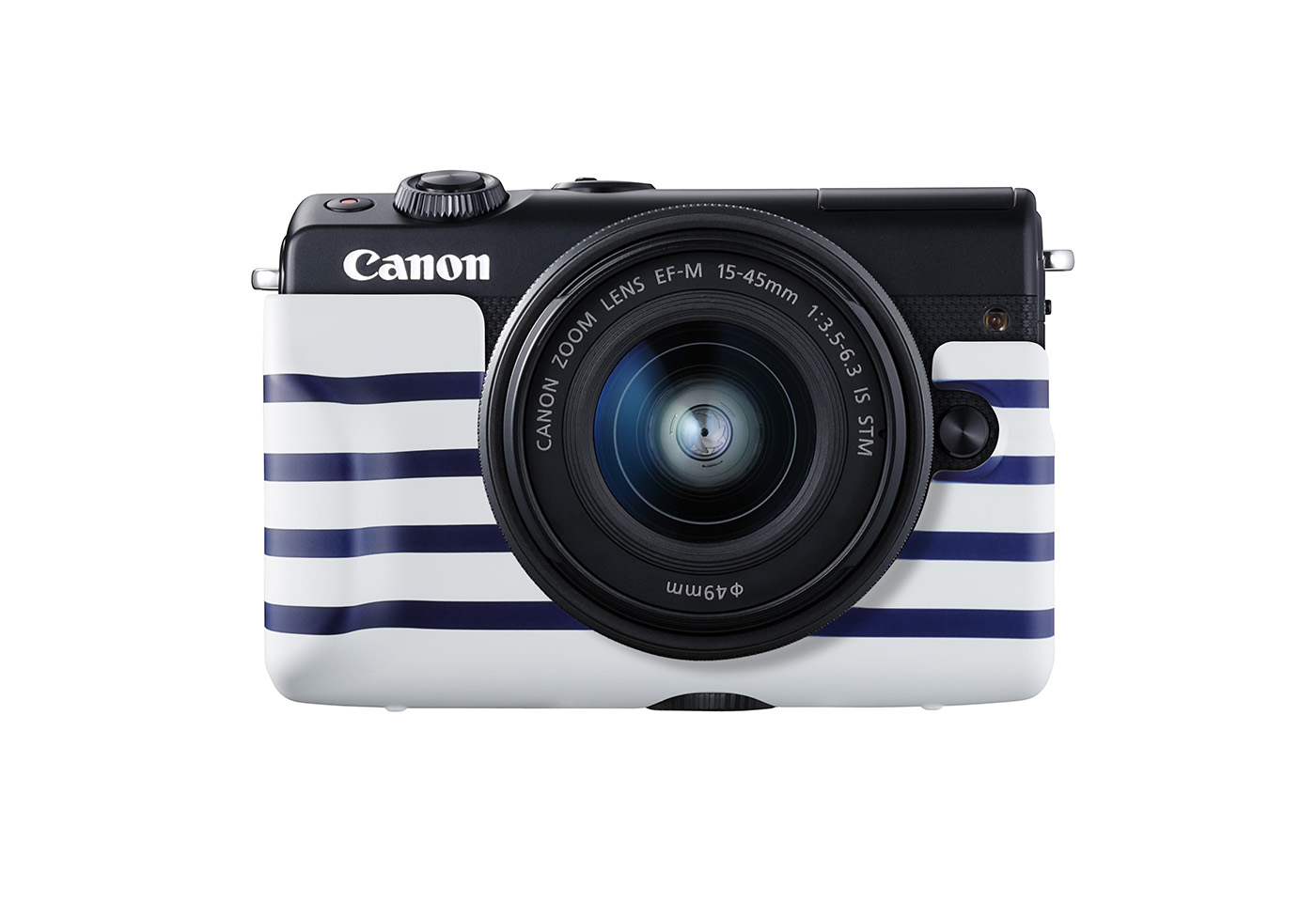 Portrait image of EOS M100 with stripe jacket