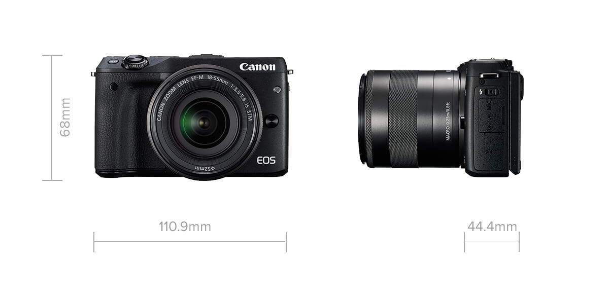 Canon EOS M3 compact mirrorless camera specification image with size